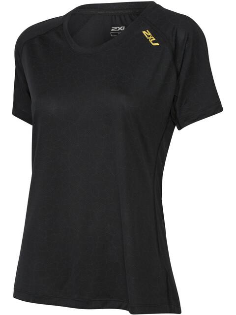 2XU W's GHST S/S Top Black Bubble Print/Gold